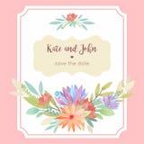 Шаблон карточки приглашения свадьбы акварели флористический с рамкой Стоковое фото RF