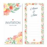 Шаблон карточки приглашения свадьбы акварели флористический Стоковые Фотографии RF
