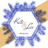 Шаблон карточки приглашения свадьбы, дизайн рамки шестиугольника ветвей пальмы вектора с именами и дата иллюстрация штока
