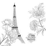 Шаблон карточки приглашения свадьбы Simbol Эйфелевой башни с цветками весны зацветая над белизной с праздником знака счастливым иллюстрация штока