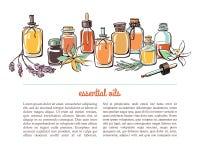 Шаблон карточки с бутылками эфирного масла Стоковое Фото