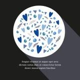 Шаблон карточки с различной нарисованными рукой элементами дизайна в круге Стоковое Фото