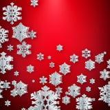 Шаблон карты украшения рождества сделанный из бумажных снежинок с copyspace 10 eps иллюстрация штока