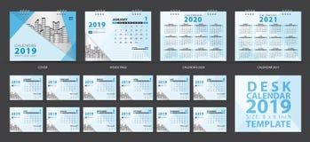 Шаблон 2019, комплект настольного календаря 12 месяцев, Calendar 2020-2021 художественное произведение, плановик, старты недели в бесплатная иллюстрация