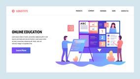 Шаблон конструкции вебсайта вектора Онлайн образование и курс обучения по Интернету Приземляясь концепции страницы для вебсайта и бесплатная иллюстрация