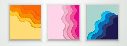 Шаблон крышки или летчика с абстрактной бумагой отрезал голубую розовую желтую предпосылку Шаблон вектора в высекать стиль искусс иллюстрация штока