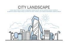 Шаблон ландшафта города с текстом Стоковые Фотографии RF