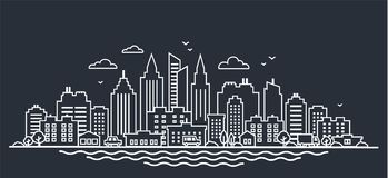 Шаблон ландшафта города Тонкая линия ландшафт города ночи Городской ландшафт с высокими небоскребами на темноте панорама Стоковое Фото