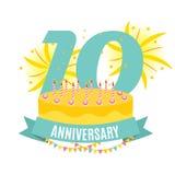 Шаблон 10 лет поздравлениям годовщины, поздравительной открытке с тортом и иллюстрации вектора приглашения ленты Стоковая Фотография