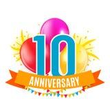 Шаблон 10 лет поздравлениям годовщины, поздравительной открытке с иллюстрацией вектора приглашения воздушных шаров Стоковое Изображение