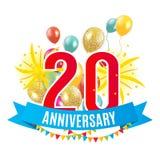 Шаблон 20 лет поздравлениям годовщины, поздравительной открытке с иллюстрацией вектора приглашения воздушных шаров Стоковое фото RF