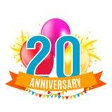 Шаблон 20 лет поздравлениям годовщины, поздравительной открытке с иллюстрацией вектора приглашения воздушных шаров Стоковая Фотография