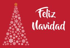 Шаблон литерности Feliz Navidad Поздравительная открытка или приглашение Typograph зимних отдыхов родственное иллюстрация вектора