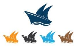 Шаблон логотипа корабля собрания - шаблон логотипа парусника - вектор корабля океана морской иллюстрация вектора