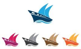 Шаблон логотипа корабля собрания - шаблон логотипа парусника - вектор корабля океана морской иллюстрация штока