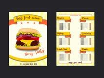 Шаблон меню ресторана фаст-фуда Обедают блюда и напитки перечисляют с ценами и бургером, пиццей, хот-догом, содой, картофелем фри иллюстрация вектора