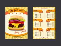 Шаблон меню ресторана фаст-фуда Обедают блюда и напитки перечисляют с ценами и бургером, пиццей, хот-догом, содой, картофелем фри иллюстрация штока