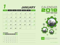 Шаблон 2018 настольного календаря Месяц января 2018 плановик Иллюстрация вектора