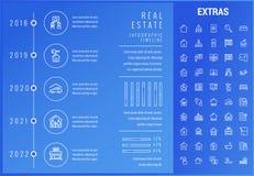 Шаблон недвижимости infographic, элементы, значки иллюстрация штока