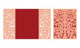 Шаблон отрезка лазера Веселое рождество и счастливый конверт створки Нового Года Приглашение шнурка рождества Приветствовать выре иллюстрация штока
