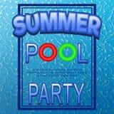 Шаблон плаката вечеринки у бассейна вектора с литерностью шаржа Стоковое фото RF