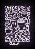 Шаблон плаката кофейни винтажный с чашками, завихряется горячий пар, Graines и сахар Стоковое Изображение