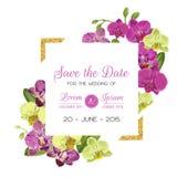 Шаблон плана приглашения свадьбы с цветками орхидеи Сохраньте карточку даты флористическую с золотой рамкой и экзотическими цветк Стоковые Изображения