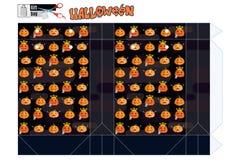 Шаблон подарочной коробки для магазина на хеллоуин с тыквами смешными S Стоковые Изображения