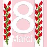 Шаблон поздравительной открытки дня женщин s 8-ое марта международный с цветками Стоковая Фотография RF