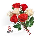 Шаблон поздравительной открытки дня ` s женщин 8-ое марта Реалистический красный цвет и белые розы на белой предпосылке Стоковая Фотография RF
