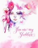 Шаблон поздравительной открытки - женщина акварели красивая и розовое orc Стоковые Фотографии RF