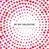 Шаблон поздравительной открытки полутонового изображения сердец Розовая и красная предпосылка сердца вектор Стоковое фото RF