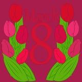 Шаблон поздравительной открытки с днем женщин s 8-ое марта цветков международным Стоковое фото RF