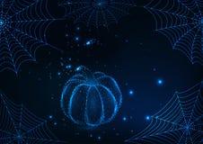 Шаблон поздравительной открытки хеллоуина с накаляя сетями паука и низкая поли тыква на темно-синей предпосылке бесплатная иллюстрация