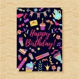 Шаблон поздравительной открытки doodle вечеринки по случаю дня рождения Стоковое фото RF