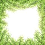 Шаблон праздничного веселого рождества и С Новым Годом! поздравительной открытки Рамка ветвей дерева 10 eps иллюстрация вектора
