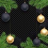 Шаблон предпосылки поздравительной открытки праздника рождества золотых украшений шарика на ветвях рождественской елки Gl золота  Стоковые Изображения RF