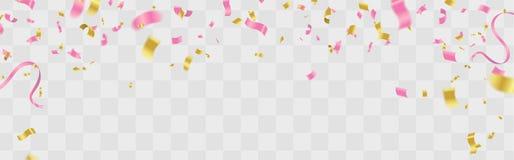Шаблон предпосылки торжества с пинком confetti и лент бесплатная иллюстрация