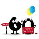 Шаблон приглашения партии поздравительой открытки ко дню рождения с днем рождений 60 изолированный на белой предпосылке иллюстрация вектора
