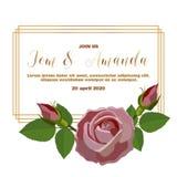 Шаблон приглашения свадьбы минимализма с розовой и лист иллюстрация вектора