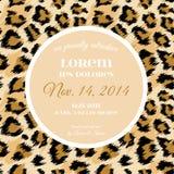 Шаблон приглашения свадьбы с модной картиной леопарда Тропическое спасение карточка даты Животный дизайн орнамента иллюстрация вектора