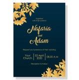 Шаблон приглашения свадьбы с элегантными цветками иллюстрация вектора