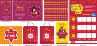 Шаблон продажи предложения фестиваля Diwali большой с передвижным приветствием, отправителем или рогулькой, обоями, печатной рекл иллюстрация штока
