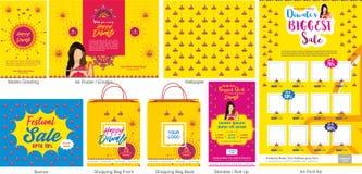 Шаблон продажи предложения фестиваля Diwali большой с передвижным приветствием, отправителем или рогулькой, обоями, печатной рекл иллюстрация вектора