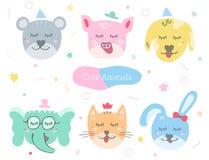 Cute animals. Set. Kids doodles postcard. Color illustration vector illustration
