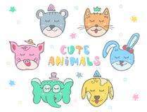 Cute color animals. Set with outline. Color illustration stock illustration