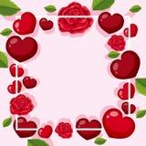 Шаблон рамки с розовой и сердцами Стоковые Изображения RF