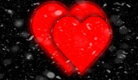 шаблон ресторана конструкции принципиальной схемы Сердце для предпосылки дня Валентайн Снег изолированный на черной предпосылке иллюстрация штока