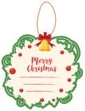 Шаблон рождественской открытки с зелеными границей и колоколом Стоковое Фото
