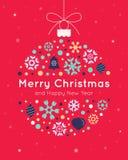 Шаблон рождественской открытки с шариком рождества Стоковые Изображения